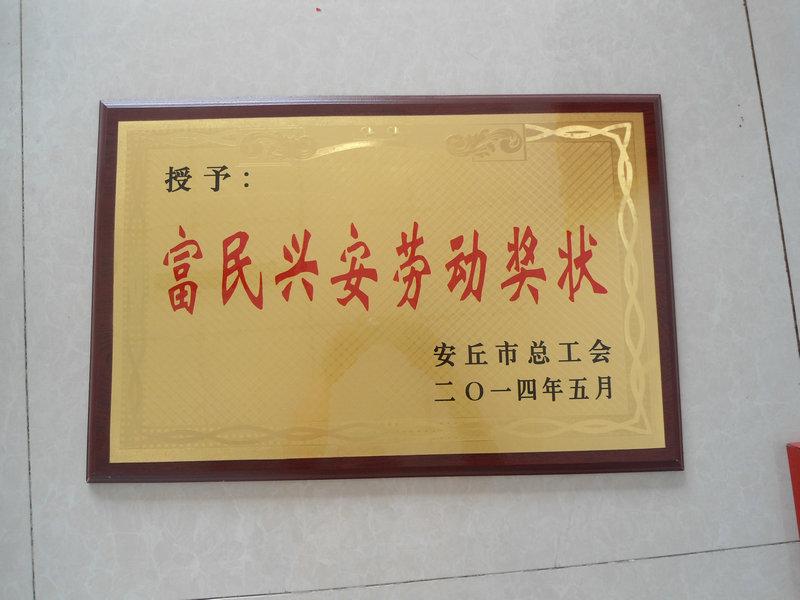 富民兴安劳动奖状